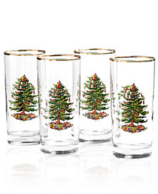 Spode Glassware, Set of 4 Christmas Tree Highball Glasses