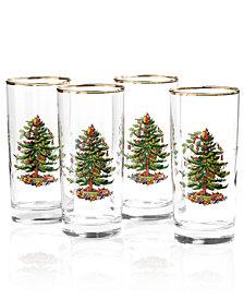 Spode Glassware, Set of 4 Christmas Tree Highball Glasses
