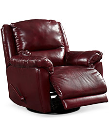 CLOSEOUT! Hughstin Leather Swivel Glider Recliner