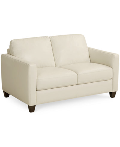 Emilia Leather Loveseat Furniture Macy S