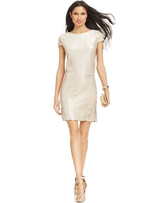Vince Camuto Cap-Sleeve Reversible Sequin Sheath