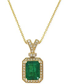 Brasilica by EFFY® Emerald (2-1/5 ct. t.w.) and Diamond (1/5 ct. t.w.) Pendant Necklace in 14k Gold, Created for Macy's