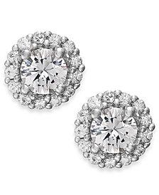 White Sapphire Halo Stud Earrings in 14k White Gold (3/4 ct. t.w.)