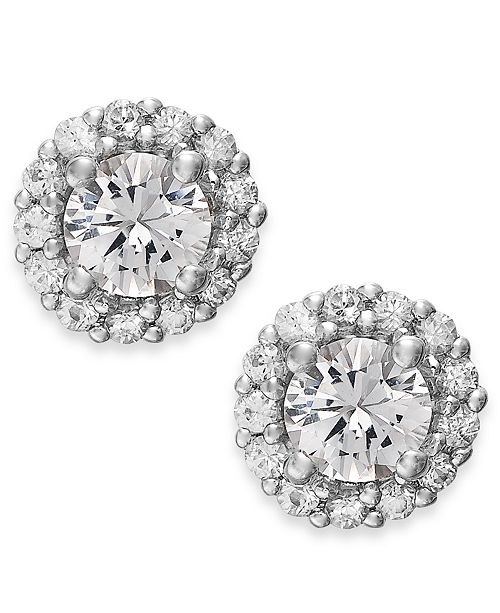 Macy's White Sapphire Halo Stud Earrings in 14k White Gold (3/4 ct. t.w.)