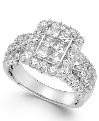 Diamond Halo Engagement Ring in 14k White Gold (2 ct. t.w.)