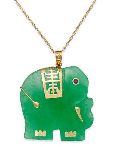 Dyed Jade Elephant Pendant Necklace In 14k Gold 25mm