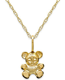 Children's Teddy Bear Teddy Bear Pendant Necklace in 14k Gold
