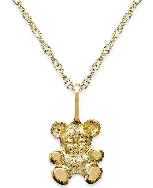 Macys childrens teddy bear teddy bear pendant necklace in 14k gold main image aloadofball Gallery