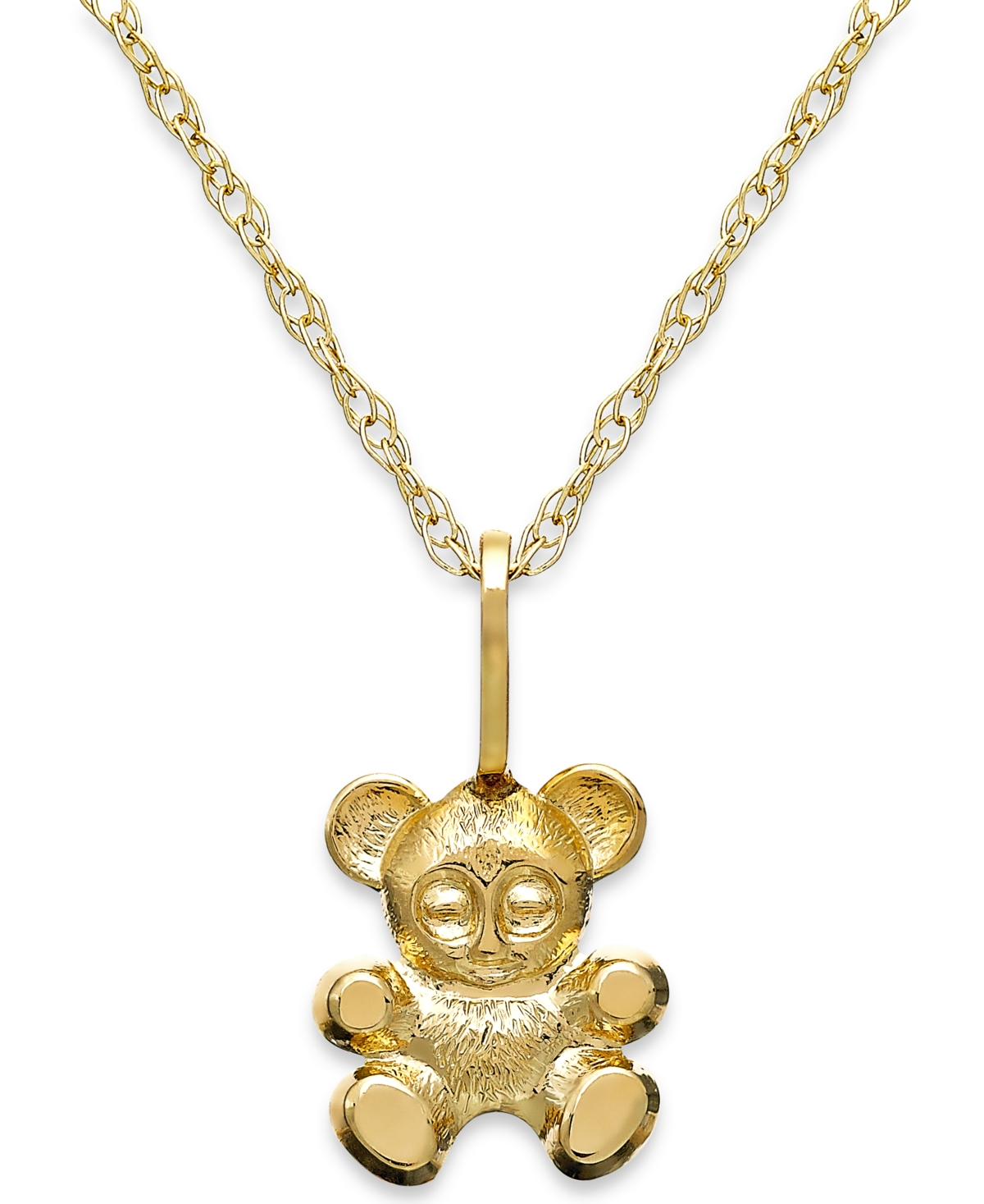 Children's Teddy Bear Teddy Bear Pendant Necklace in 14k Gold