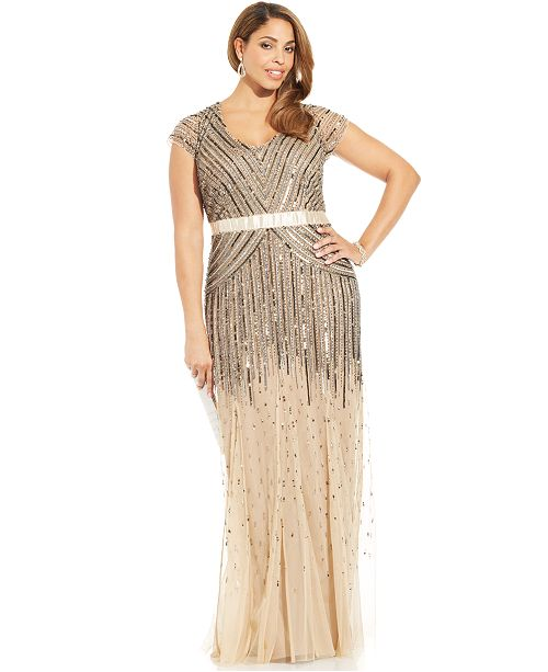 96ec77d7fb7 ... Adrianna Papell Plus Size Cap-Sleeve Beaded Sequined Gown ...