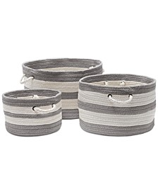 Valley-Stripe 3 Piece Basket Set