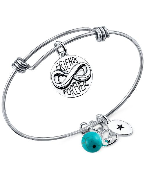 Unwritten Friends Forever Charm And Turquoise 8mm Bangle Bracelet In Stainless Steel Bracelets Jewelry Watches Macy S