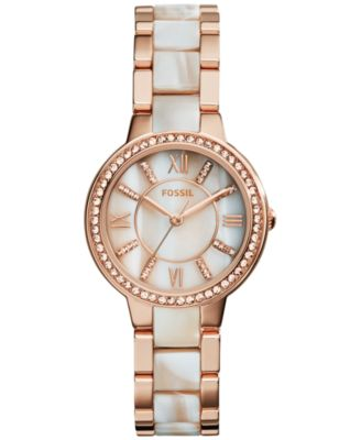 Image of Fossil Women's Virginia Shimmer Horn and Rose Gold-Tone Stainless Steel Bracelet Watch 30mm ES3716