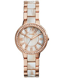 Women's Virginia Shimmer Horn and Rose Gold-Tone Stainless Steel Bracelet Watch 30mm ES3716