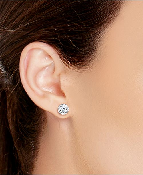 Diamond Halo Stud Earrings 14k White Gold 3 4 Ct T W
