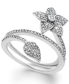 Diamond Wrap-Around Flower Ring in Sterling Silver (1/2 ct. t.w.)
