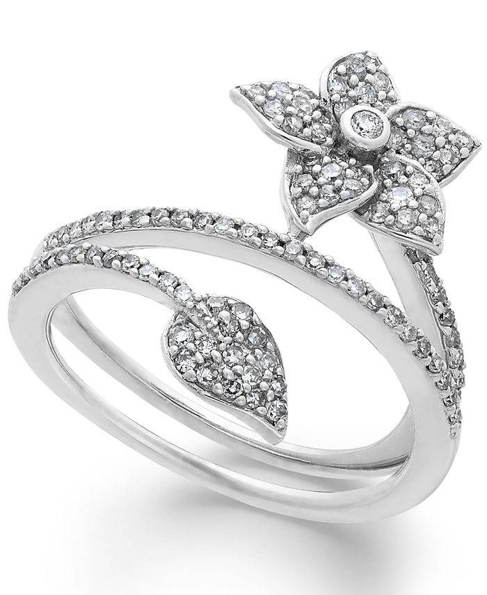 Macy's - Diamond Wrap-Around Flower Ring in Sterling Silver (1/2 ct. t.w.)
