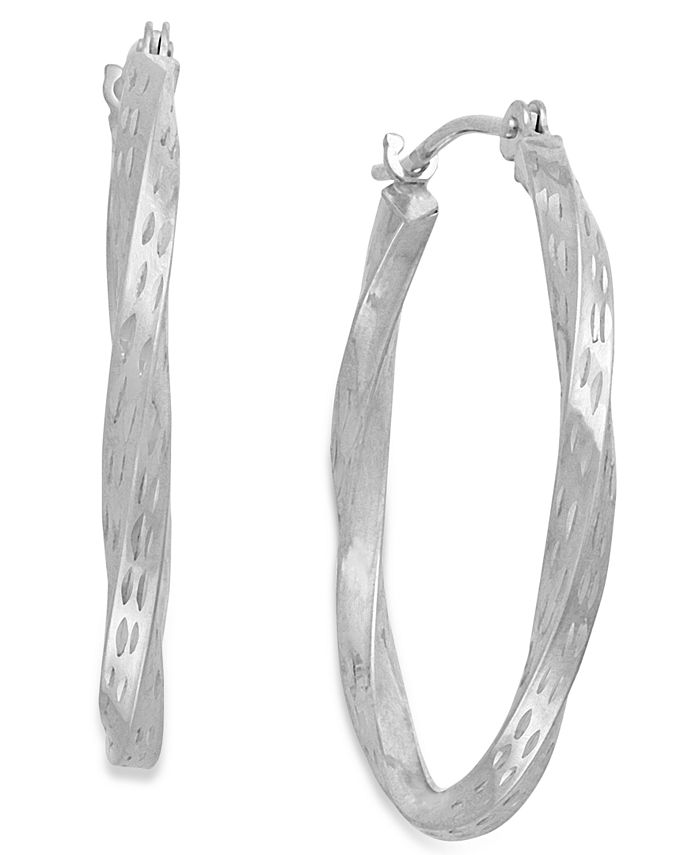 Macy's - Diamond-Cut Hoop Earrings in 10k White Gold
