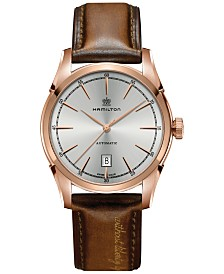 Hamilton Men's Swiss Automatic Spirit of Liberty Brown Leather Strap Watch 42mm H42445551