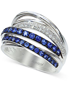 Royale Bleu by EFFY Sapphire (3/4 ct. t.w.) and Diamond (1/5 ct. t.w.) Band in 14k White Gold