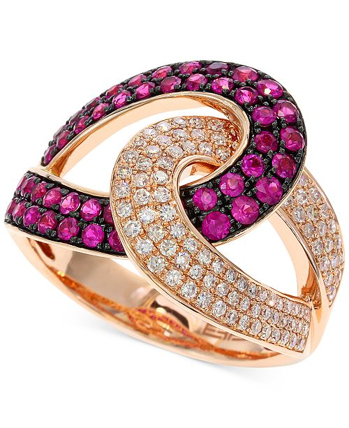 EFFY Collection Amoré by EFFY Ruby (3/4 ct. t.w.) and Diamond (1/3 ct. t.w.) Loop Ring in 14k Rose Gold
