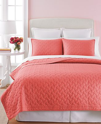 CLOSEOUT! Martha Stewart Collection Coral Basket Stitch Full/Queen ... : coral quilt - Adamdwight.com
