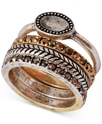 Lucky brand two tone organic stone stack ring fashion for Macy s lucky brand jewelry