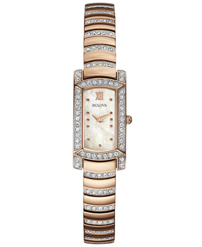 Bulova Women's Crystal Accent Rose Gold-Tone Stainless Steel Bracelet Watch 29x15mm 98L205