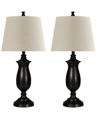 StyleCraft Set Of 2 Dark Bronze Metal Table Lamps