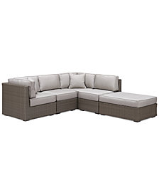 CLOSEOUT! South Harbor Outdoor 5-Pc. Modular Seating Set (2 Corner Units, 2 Armless Units and 1 Ottoman), Created for Macy's