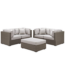 CLOSEOUT! South Harbor Outdoor 5-Pc. Modular Seating Set (4 Corner Units and 1 Ottoman), Created for Macy's