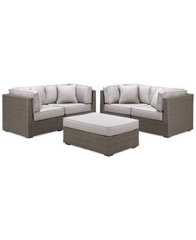 South Harbor Outdoor 5-Pc. Modular Seating Set (4 Corner Units and 1 Ottoman), Created for Macy's