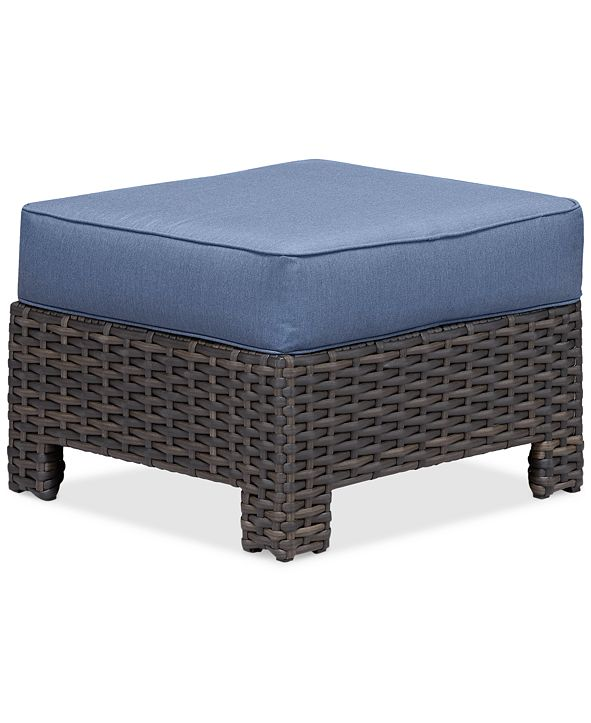 Furniture Viewport Wicker Outdoor Ottoman with Sunbrella® Cushions, Created for Macy's