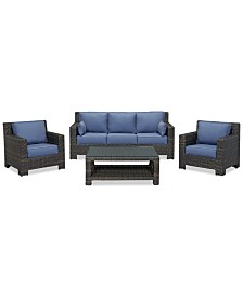 Viewport Outdoor Wicker 4-Pc. Seating Set (1 Sofa, 2 Club Chairs and 1 Coffee Table), Created for Macy's