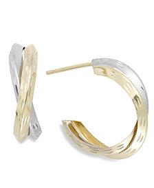 Two-Tone X-Hoop Earrings in 10k Gold, 16mm