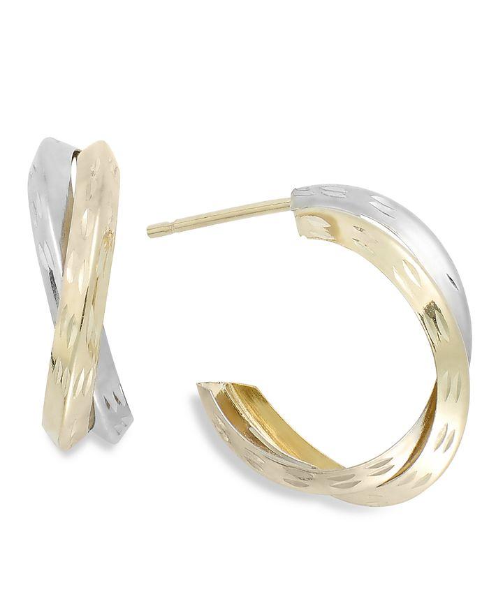 Macy's - Two-Tone X-Hoop Earrings in 10k Gold