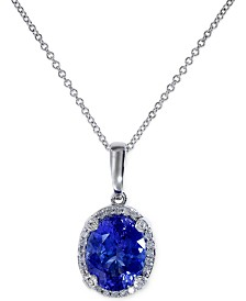 EFFY® Tanzanite (2-5/8 ct. t.w.) and Diamond (1/8 ct. t.w.) Pendant Necklace in 14k White Gold, Created for Macy's