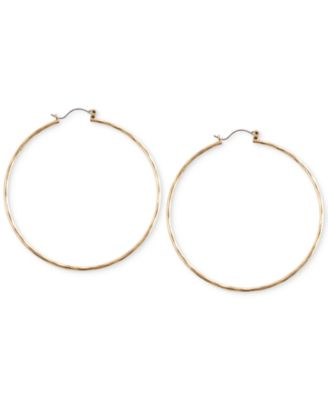 Image of Lucky Brand Big Hammered Hoop Earrings