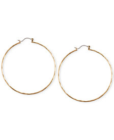 "Lucky Brand Big Hammered 2-2/5"" Hoop Earrings"