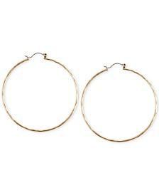 """Lucky Brand Big Hammered 2-2/5"""" Hoop Earrings"""