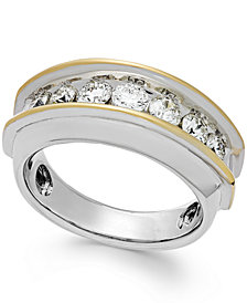 Men's Two-Tone Diamond Band in 10k Gold (1-1/2 ct. t.w.)