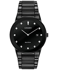 Citizen Men's Eco-Drive Axiom Diamond Accent Black Ion-Plated Stainless Steel Bracelet Watch 40mm AU1065-58G