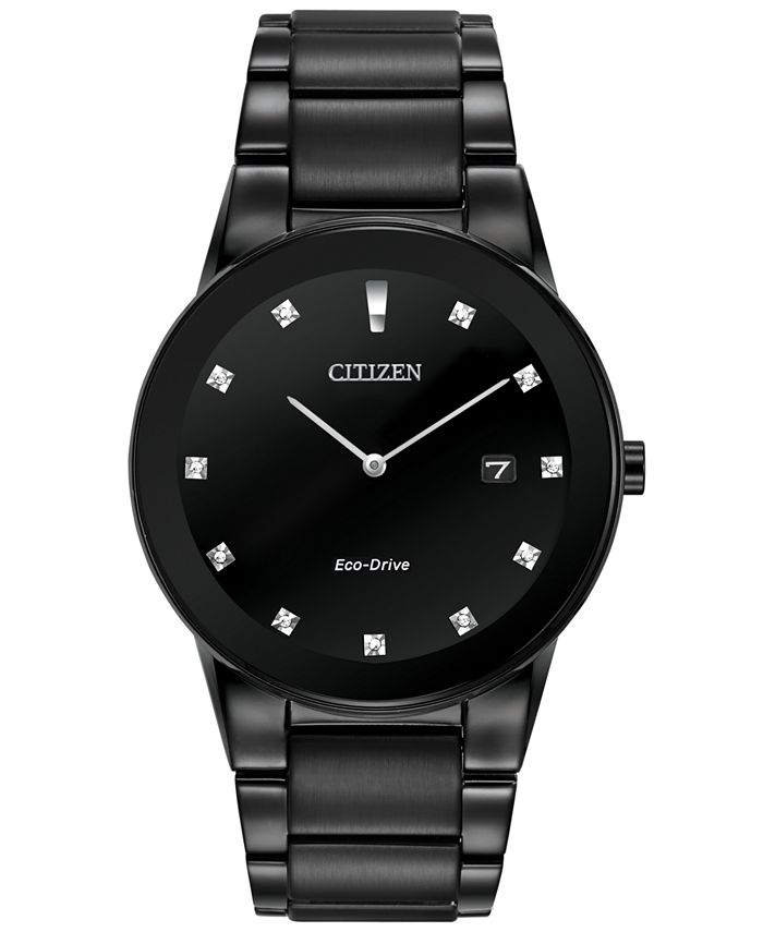 Citizen - Men's Eco-Drive Axiom Diamond Accent Black Ion-Plated Stainless Steel Bracelet Watch 40mm AU1065-58G