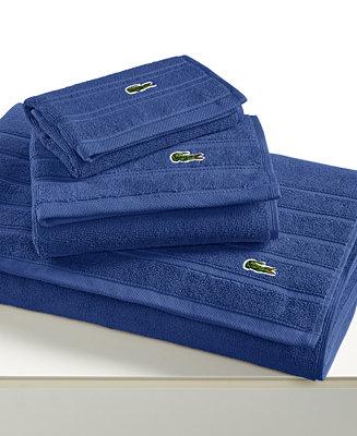 Lacoste Closeout Croc Solid Bath Towel Collection Pure