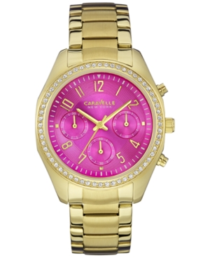 Caravelle New York by Bulova Women's Chronograph Gold-Tone Stainless Steel Bracelet Watch 36mm 44L168