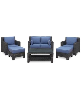 Viewport Outdoor Wicker 6-Pc. Seating Set (1 Loveseat, 2 Club Chairs, 2 Ottomans and 1 Coffee Table), Created for Macy's