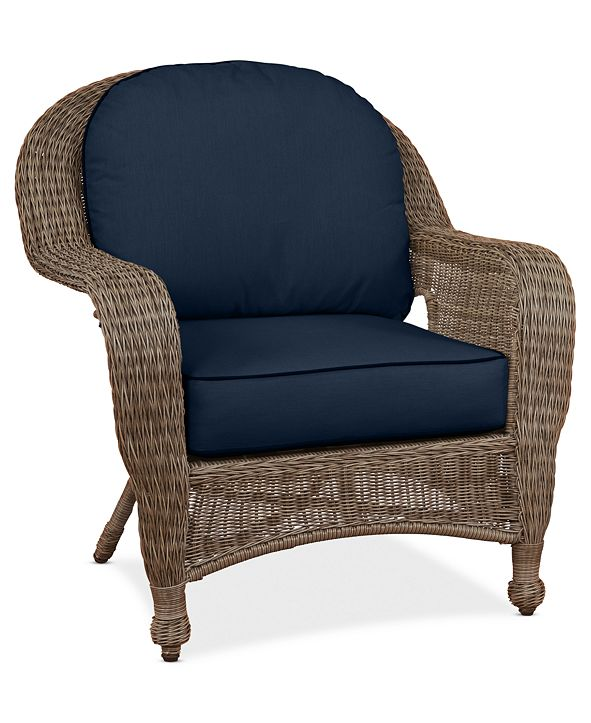 Furniture Sandy Cove Wicker Outdoor Club Chair: Custom Sunbrella®, Created for Macy's