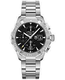 TAG Heuer Men's Swiss Automatic Chronograph Aquaracer Stainless Steel Bracelet Watch 43mm