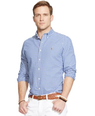 Men's Long-Sleeve Checked Oxford Shirt