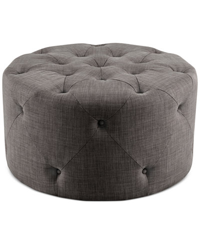 Imogen Fabric Round Tufted Cocktail Ottoman Quick Ship